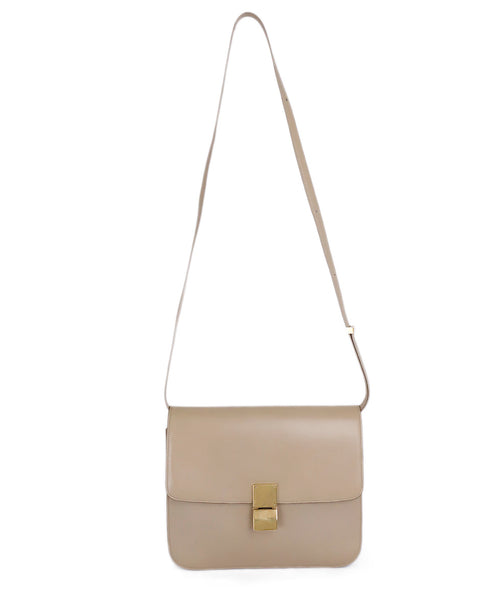 Celine Beige Leather Classic Box Crossbody Handbag 1