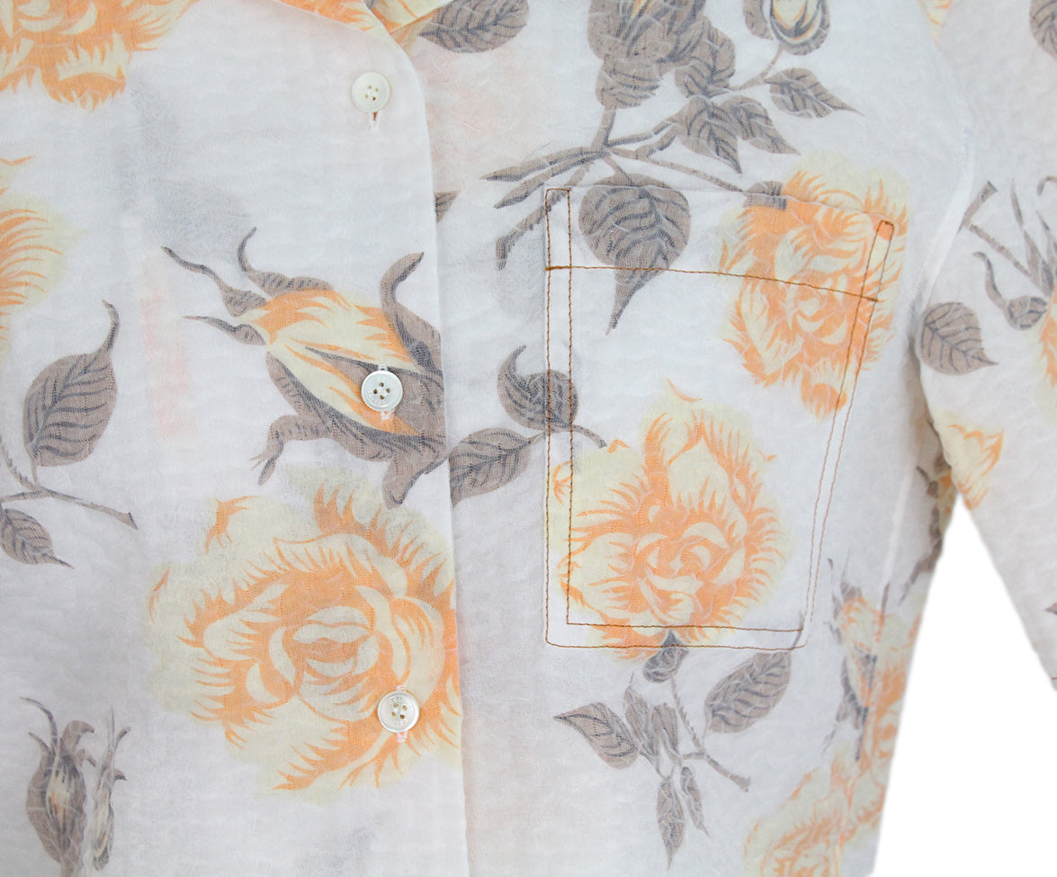 Celine beige orange floral shirt 6