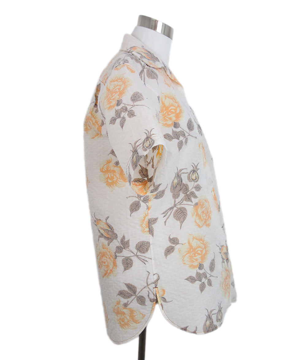 Celine beige orange floral shirt 2