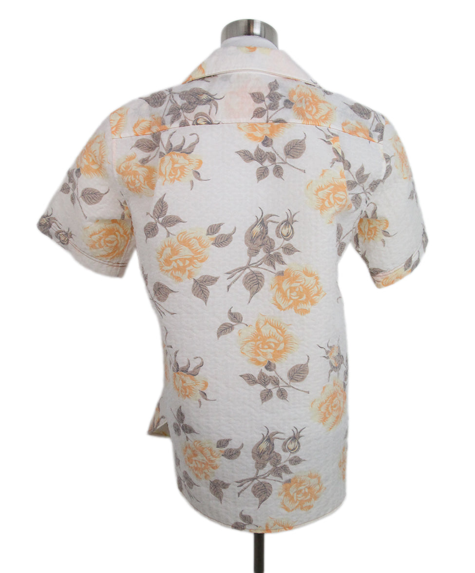 Celine beige orange floral shirt 3