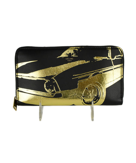 YSL Metallic Gold Pebbled Leather Wallet