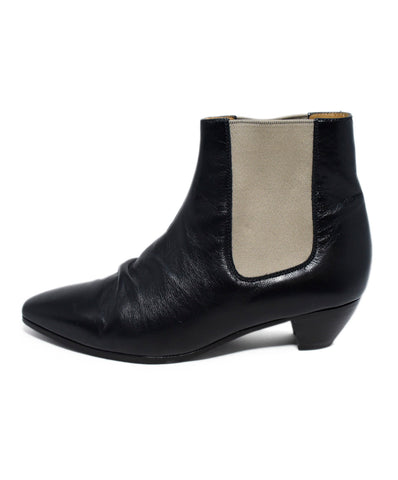 Celine Black Leather Beige Elastic Booties 1