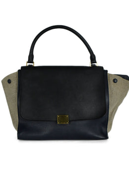 Celine Black Navy Beige Leather Canvas Satchel Handbag | Celine