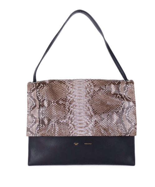Celine Black Taupe Grey Python Leather Handbag 1
