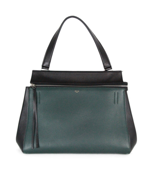 Celine green black leather handbag 1