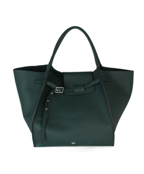 Celine green leather tote 1