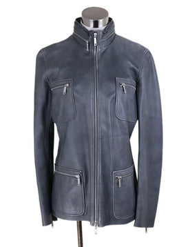 Jacket Celine Grey Leather Zipper Trim Outerwear 1
