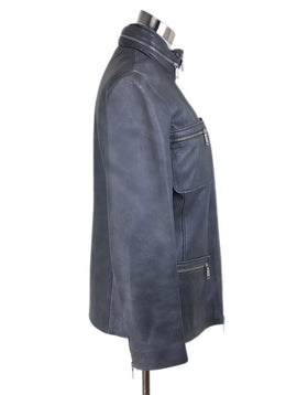 Jacket Celine Grey Leather Zipper Trim Outerwear 2