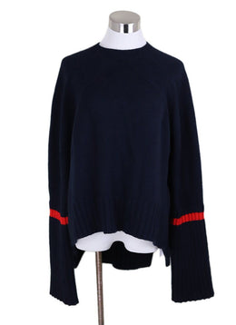 Celine Navy Yak Hair Wool Red Trim Sweater