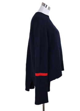 Celine Navy Yak Hair Wool Red Trim Sweater 1