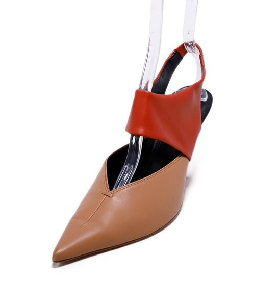 Celine Neutral Tan Rust Leather Sling Backs Heels 1