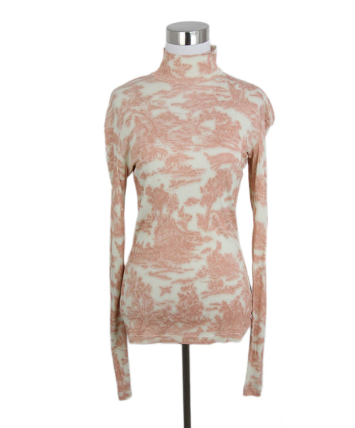 Celine pink beige print long sleeve top 1