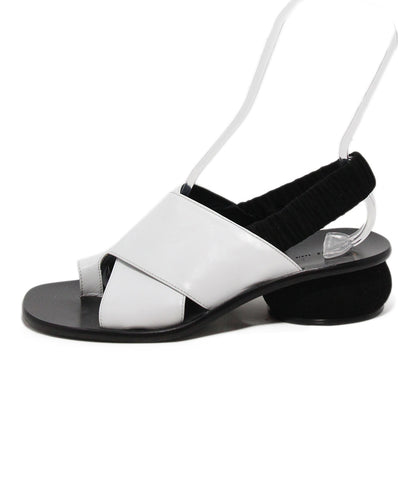 Celine white leather black suede trim sandals 1