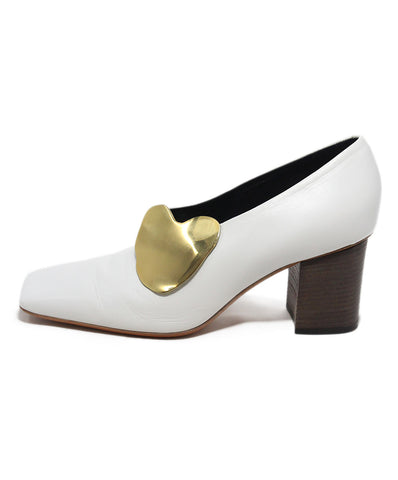 Celine white leather heels 1