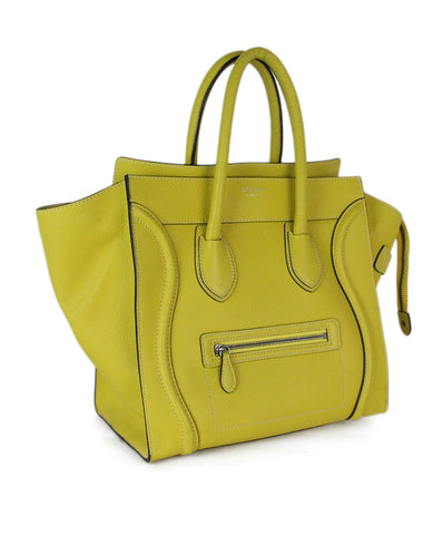 Celine yellow leather mini luggage tote 1