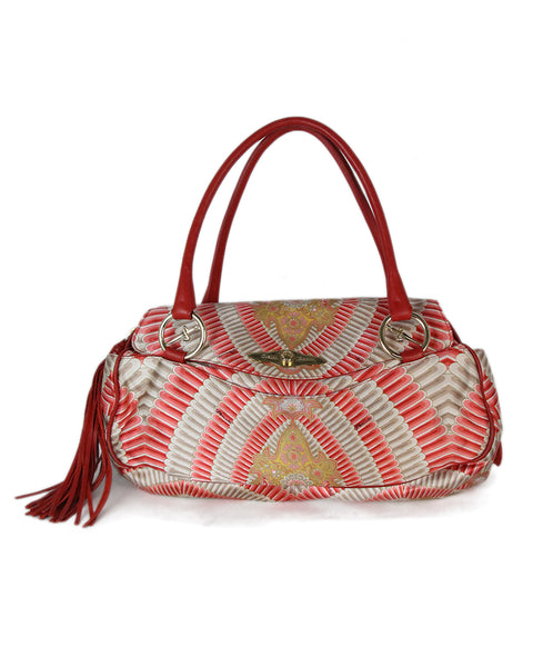 Cesare Paciotti white red print satchel 1