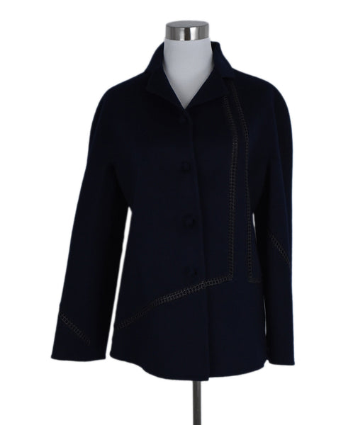 Chado Blue Navy Cashmere Leather Trim Jacket 1