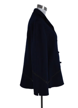 Chado Blue Navy Cashmere Leather Trim Jacket 2