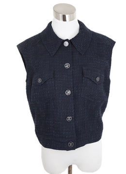 Chanel Navy Wool Vest Top 1