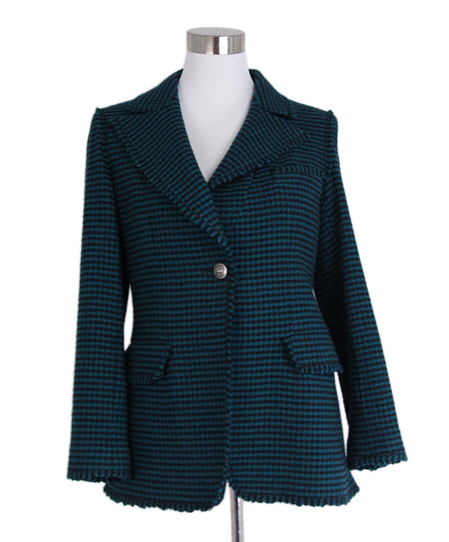 Chanel 2008 Green Black Cashmere Coat 1