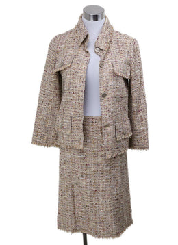 Chanel Neutral Tan Wool Burgundy Tweed Vintage Suit 1