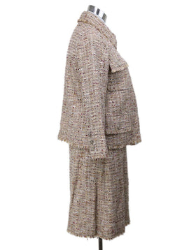 Chanel Neutral Tan Wool Burgundy Tweed Vintage Suit 2
