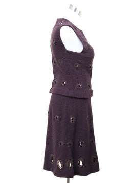 2 PC Chanel Purple Plum Wool Applique Dress 2