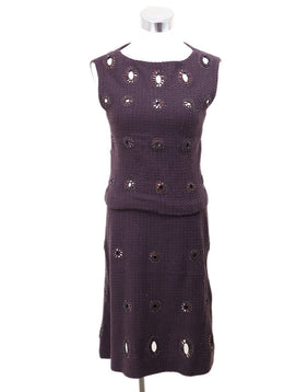 2 PC Chanel Purple Plum Wool Applique Dress 1
