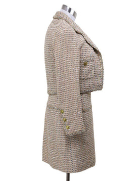 2 PC Chanel Neutral Tan Wool Multicolor Tweed Vintage Dress 2