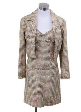 2 PC Chanel Neutral Tan Wool Multicolor Tweed Vintage Dress 1