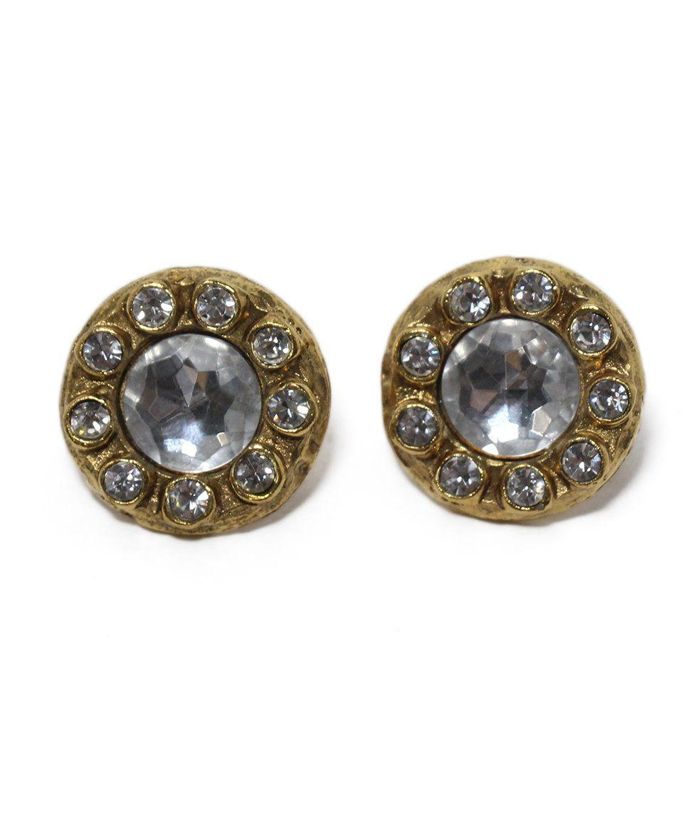 Chanel 9 cubic circles Gold Rhinestone Earrings 3