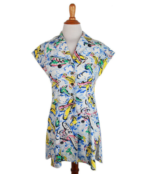 Chanel Blue Yellow Pink Cotton Airplane Dress Sz 4