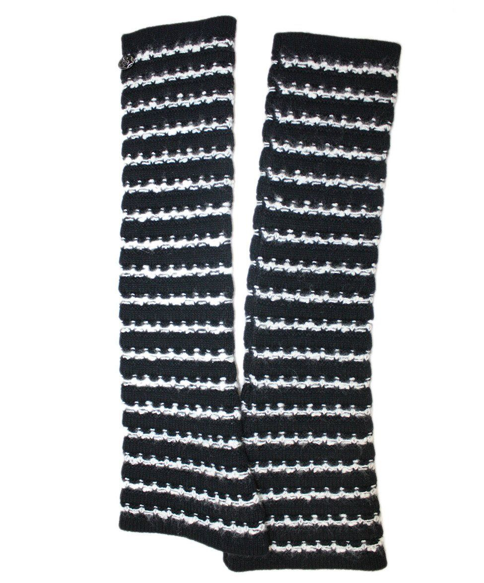 Chanel Black Cashmere Wool White Stripe Armwarmers - Michael's Consignment NYC  - 1