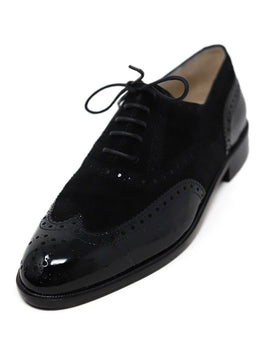 Oxford Chanel Black Suede Leather Patent Shoes 1