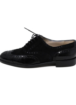 Oxford Chanel Black Suede Leather Patent Shoes 2