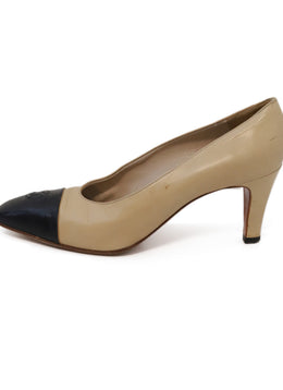 Chanel Beige Black Leather Heels 1