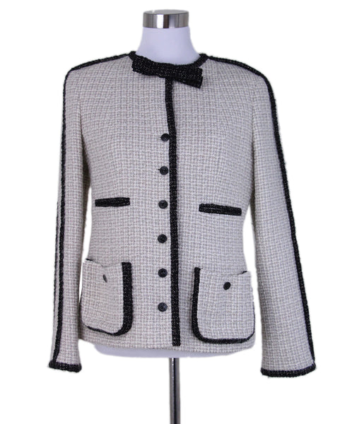 Chanel Beige Black Wool Jacket 1