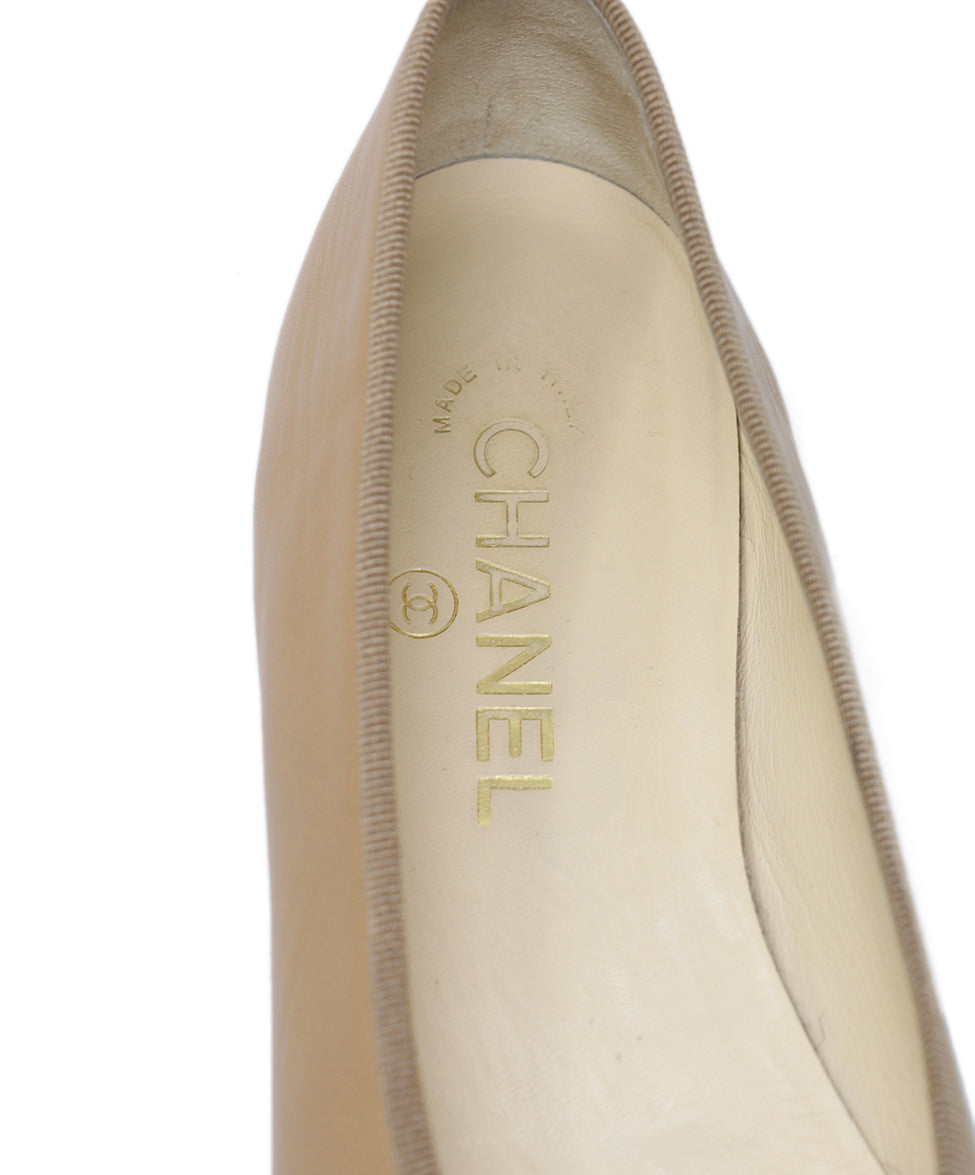 Chanel Beige Leather Flats 7