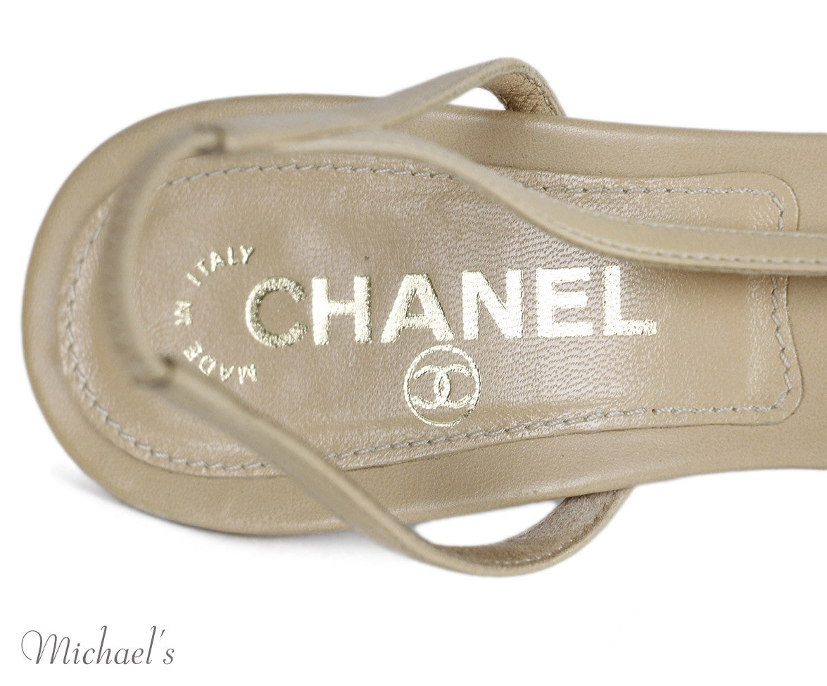 Chanel Beige Leather Pearl Accent Shoes Sz 38.5
