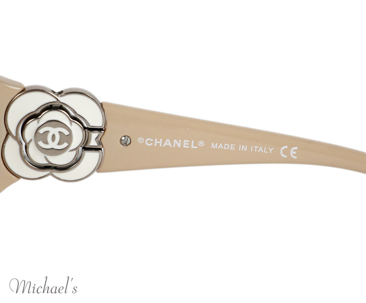 Chanel  Beige Plastic Sunglasses