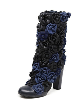 Chanel Black Blue Charcoal Leather Rosettes Boots