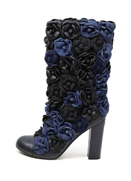 Chanel Black Blue Charcoal Leather Rosettes Boots 1