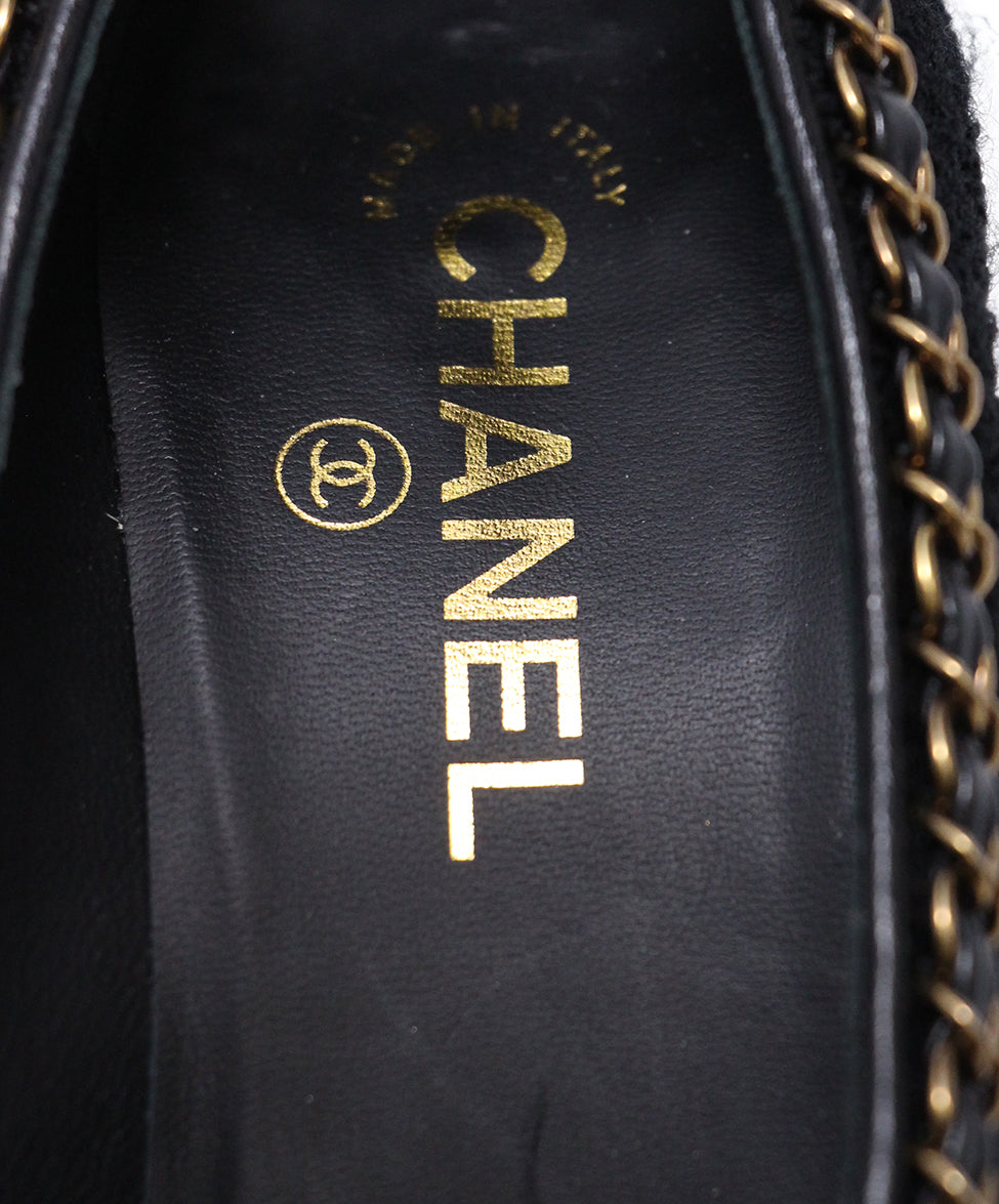Chanel Black Boucle chain trim heels 7