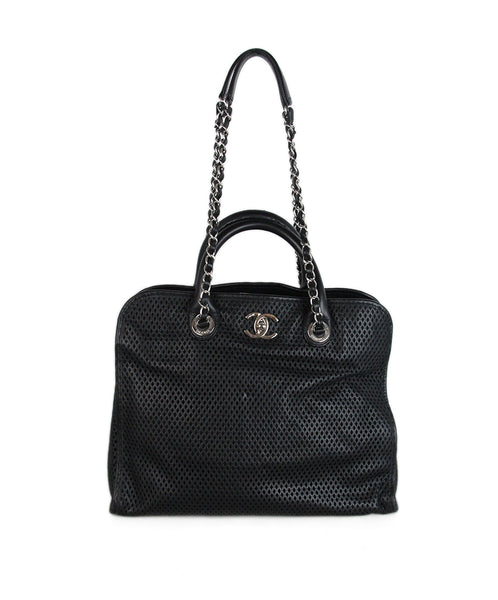 Chanel Black Cut Leather Satchel 1