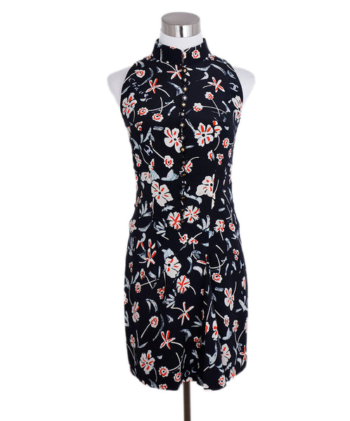 Chanel Black White Red Floral Silk Dress 1