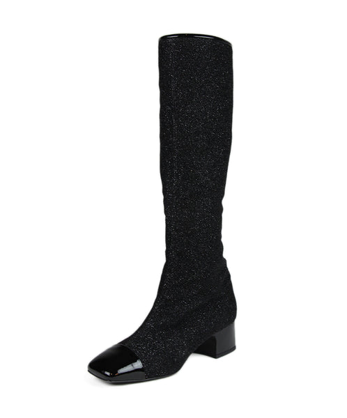 Chanel Black Glitter Boots 1