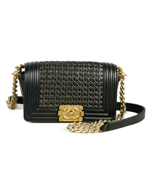 Chanel Boy Bag Black Gold Leather Satchel Handbag