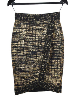 Chanel Black Gold Wool Polyamide Skirt 1