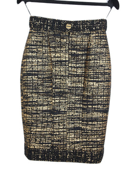 Chanel Black Gold Wool Polyamide Skirt 2