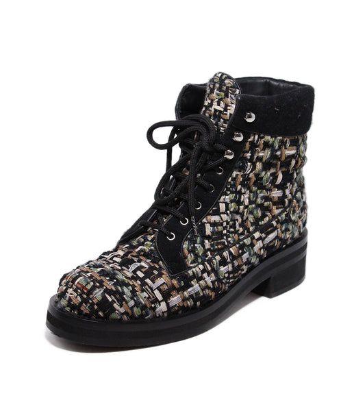 Chanel Black Green Gold Tweed Leather Boots 1